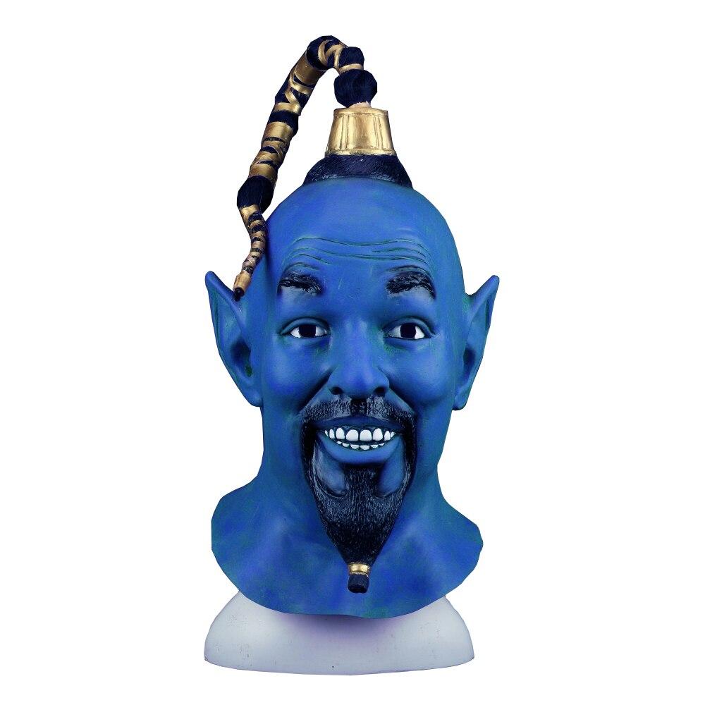 Cosplay 2019 filme aladdin e a lâmpada mágica máscara látex azul elf halloween máscara adereços