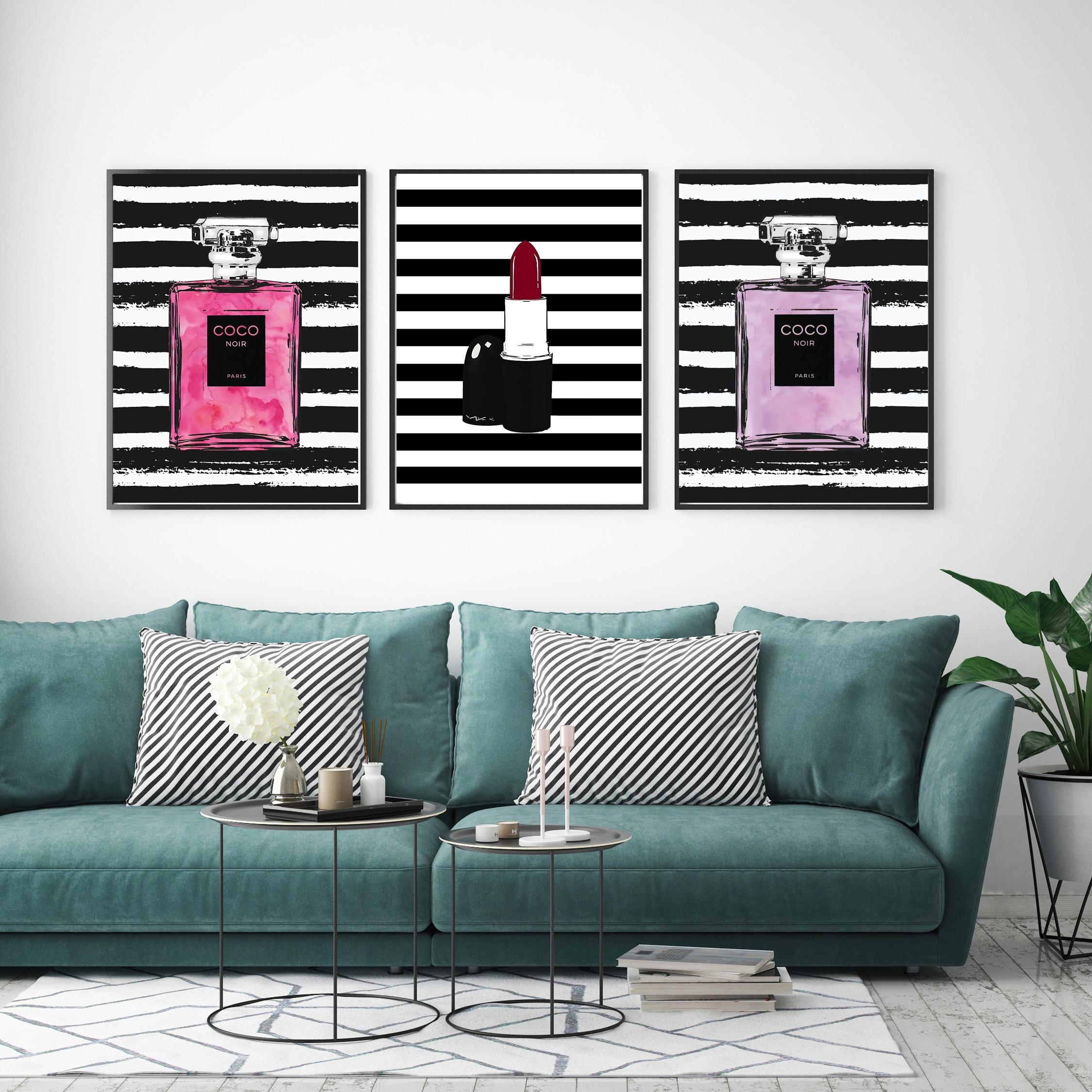 Nórdico abstracto lápiz labial COCO botella de Perfume cuadro sobre lienzo para pared moderna de pared para sala de decoración para el hogar, sin marco