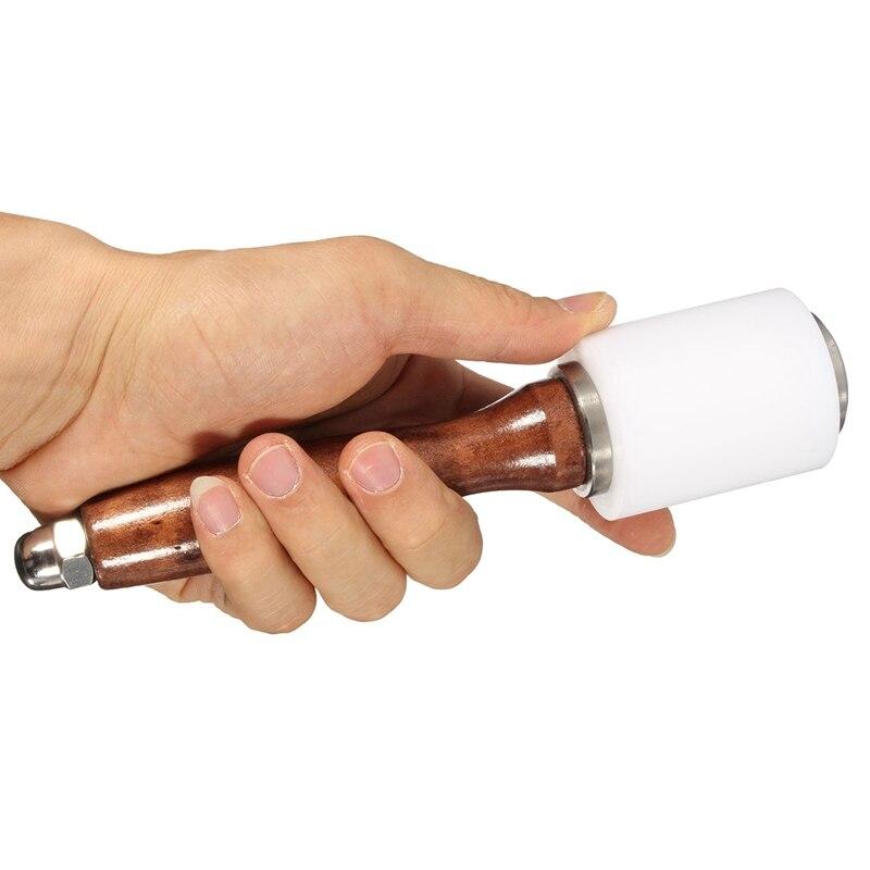 Martillo de grabado para peletería con mango de madera reforzado, herramienta de estampado para corte artesanal de cuero, herramientas para perforar artesanías hechas a mano