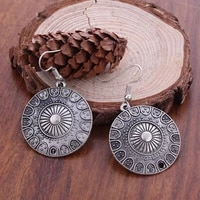 bohemian ethnic vintage big carved round drop earrings carved flowers dangle earrings for women statement jewelry