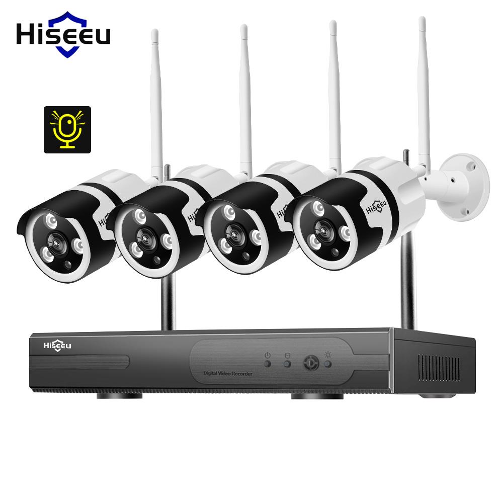 Hiseeu 1080P 4CH kablosuz NVR CCTV sistemi ses wifi 2.0MP açık Bullet IP kamera su geçirmez güvenlik Video gözetim kiti