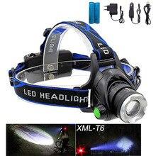 Rechargeable XML T6 Zoom lampe frontale torche LED lampe frontale + 18650 batterie phare lampe de poche lanterne nuit pêche lampe frontale