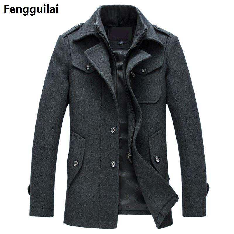 جديد الشتاء الصوف معطف سليم صالح جاكيتات موضة ملابس خارجية الدافئة رجل سترة غير رسمية معطف البازلاء معطف حجم كبير M-XXXL