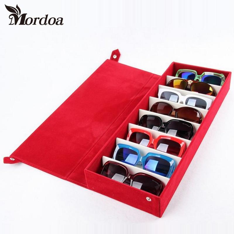 Moedoa 48.5*18*6cm Storage Display Grid Case Box for Eyeglass Sunglass Glasses 8 Compartments Glasses jewelry Display Box/Rack