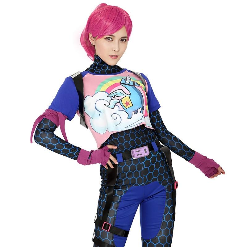Brite Bomber Regenbogen Pferd Zentai Cosplay Halloween Kostüm Frauen Erwachsene Hemd Hosen