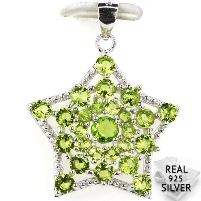 Sólida plata esterlina 925 Real garantizado 2,9g romántica forma de estrella verde peridoto CZ compromiso colgante 30x23mm
