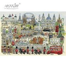 Michel-ange puzzle en bois 500 1000 pièces londres ville dessin animé jouets éducatifs décoratif mur peinture cadeau décor à la maison