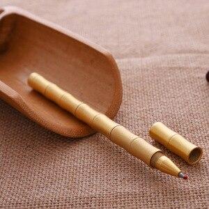 2PCS PACK Vintage Classic Bamboo Ballpoint Pen Golden Handmade Shiny Brass Copper Gel Pen for Business Gift and Office School