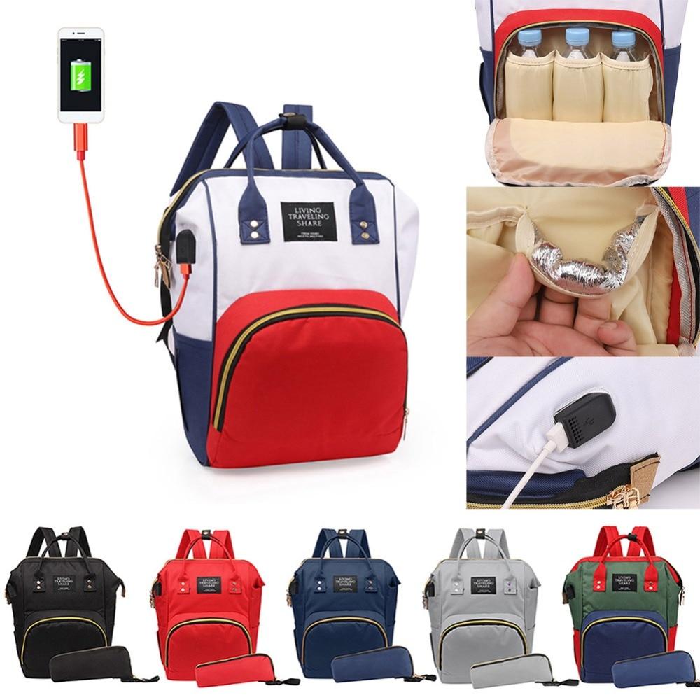 8 Colors USB Mummy Multifunctional Diaper Bag Baby Care Nappy Bag Mom Outdoor Nursing Backpack Clutch Handbag Nappy Organizer