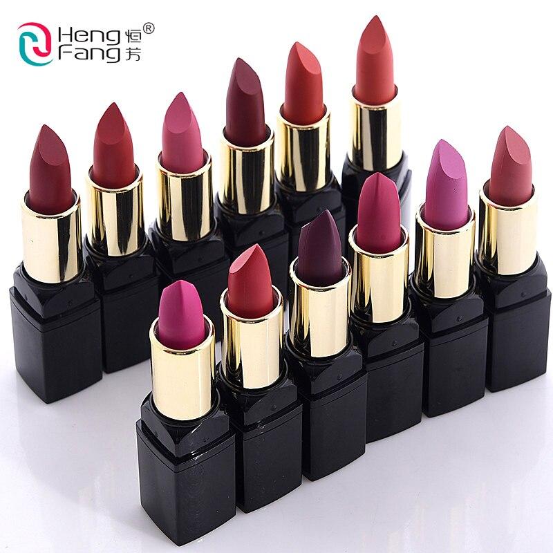 Nuevos Kits de maquillaje de labios sexis de terciopelo color carne mate lápiz labial labio 12 Uds Hengfang resistente al agua pigmentos de maquillaje lápiz labial rojo juegos de belleza