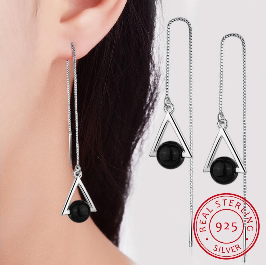 Triângulo bonito geométrico 925 jóias de prata esterlina longa exagerada natural preto cristal borla balançar brincos se315