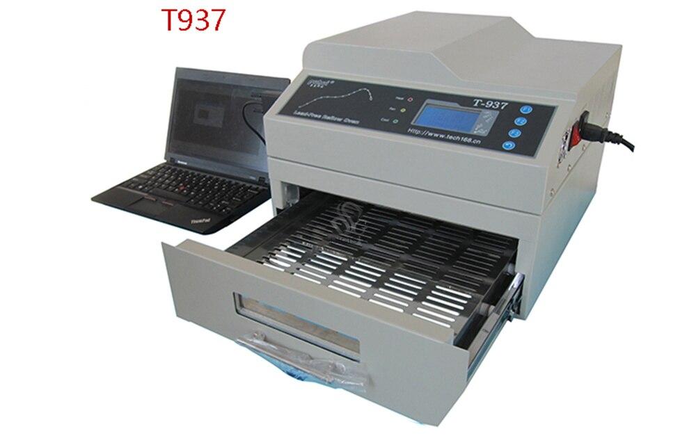 Envío Gratis, original T-937, horno de reflujo sin plomo de 2300W, calentador infrarrojo IC de 220V, BGA SMD SMT T937, horno de reflujo de soldar