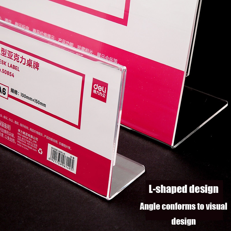 L-shaped table display card acrylic vertical horizontal transparent double-sided design card sign wear-resistant seat card