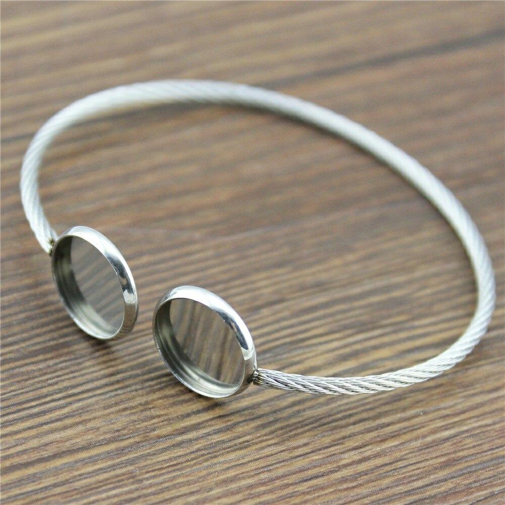 2 pçs super flexível caber 12mm de vidro cabochão pulseira base em branco achados bandeja moldura definir material de aço inoxidável