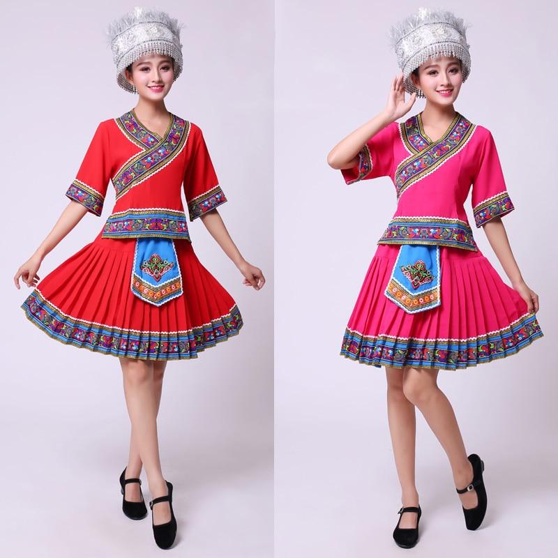 Traje chino tradicional Hmong (top + faldas con volantes), conjuntos de ropa, vestido de baile miao, ropa folklórico de China actuación de baile