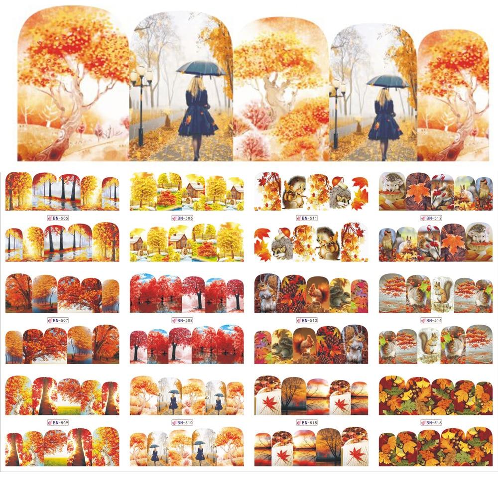 12 hojas/lote de Arte de uñas Sticker carácter/paisaje agua Transfers calcomanías de uñas DIY uñas Wraps tatuajes herramientas de uñas BN505-516