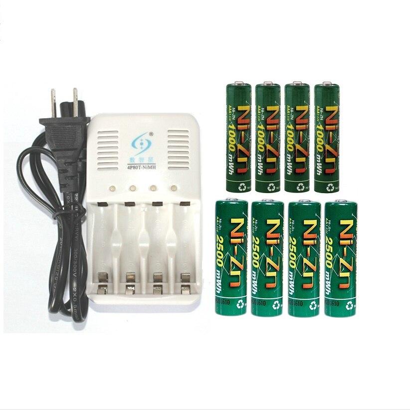 8 pçs/lote 1.6v (4pcs aa + 4pcs aaa) 1000mWh Ni-Zn nizn bateria recarregável aaa 1.5v bateria recarregável + Carregador Inteligente