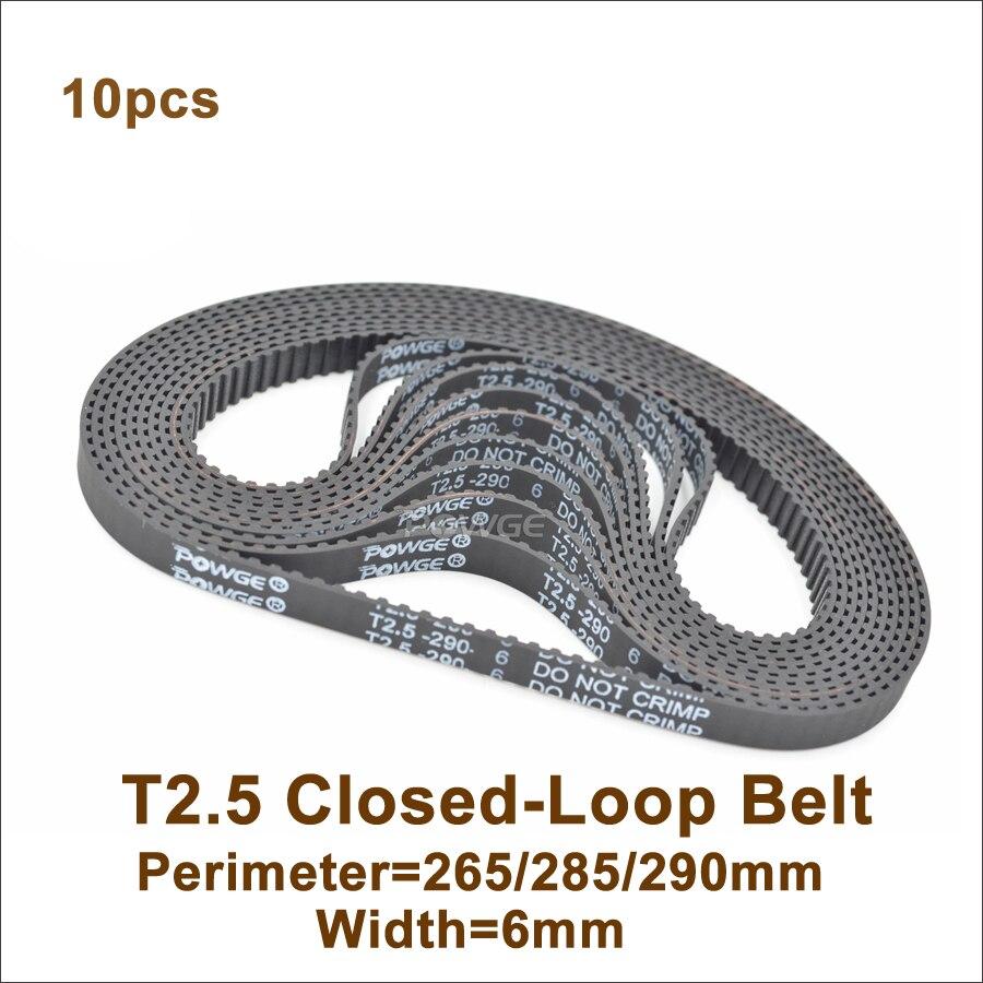 POWGE 265 T2.5 توقيت حزام عرض 6 مللي متر محيط 265 285 290 مللي متر الأسنان 106 114 116 T2.5 حلقة مغلقة المطاط حزام T2.5 بكرة 10 قطعة
