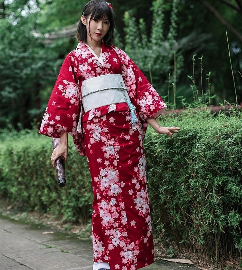 كيمونو ياباني تقليدي بزخارف نباتية مع أوبي ، روب حمام قطني نسائي ، يوكاتا ، زي تنكري عتيق ، فستان سهرة A60512