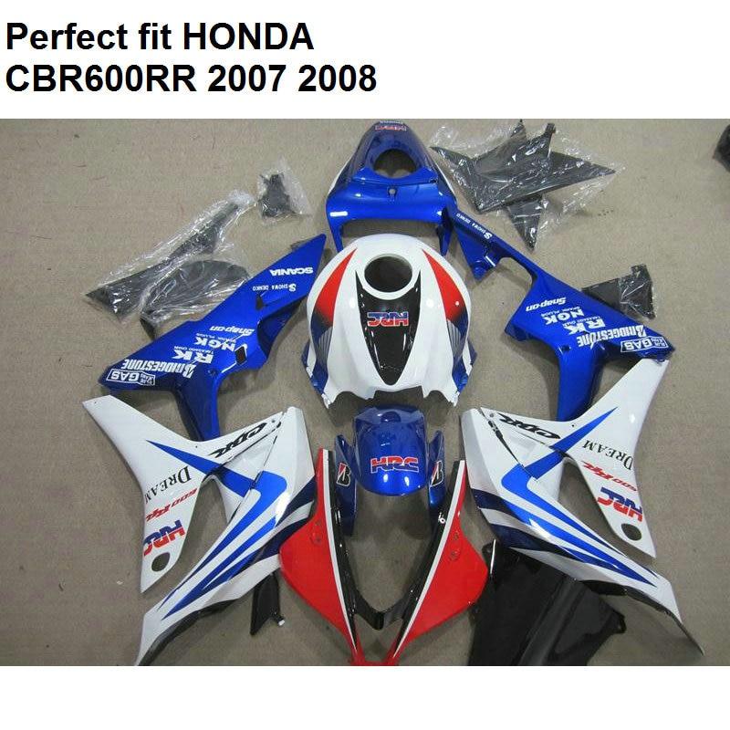 Aftermarket körper rümpfe verkleidungen für Honda CBR 600 RR 2007 2008 blau weiß verkleidung kit CBR600RR 07 08 MB81