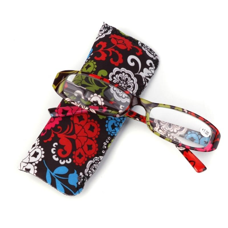 Nueva moda de gafas de lectura de la presbicia resina lente gafas con bolsa bolso colorido + 1,0 ~ + 4,0 rojo/azul