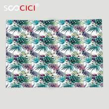 Couverture polaire douce personnalisée   Plantes florales exotiques et Hibiscus, feuilles tropicales, aquarelle, illustration violet chasseur essence verte