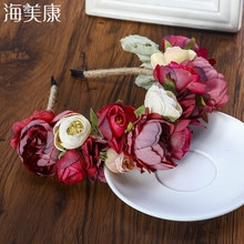 Haimeikang Colorful Flower Headband Fabric Princess Headdresses Girls Bride Headband Women Beach Wedding Hair Accessories