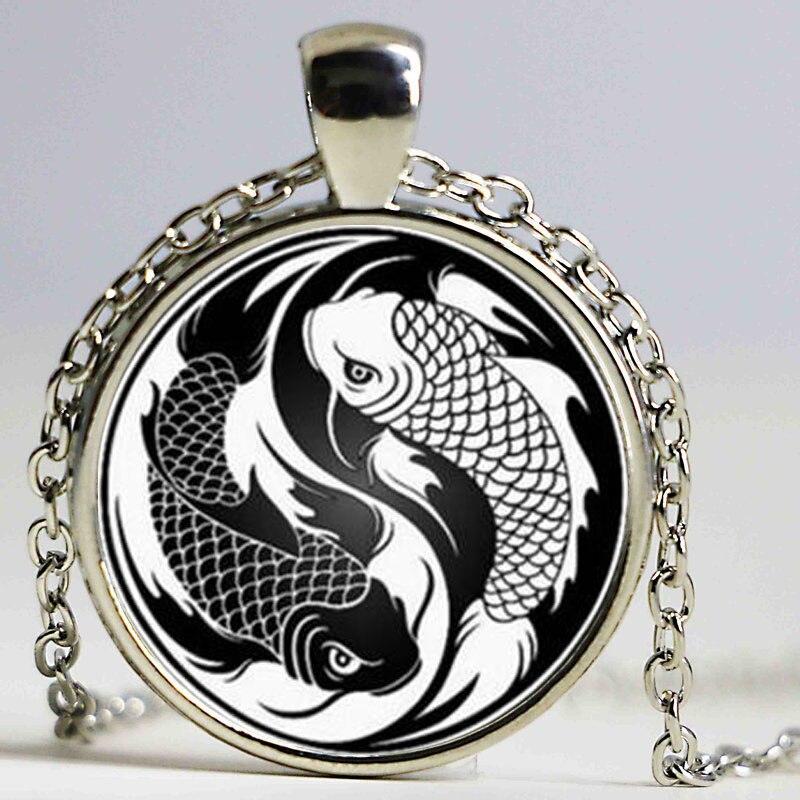 Collar de mosaico de vidrio de marca Koi Yin Yang BA Gua Tai Ji Tattoo Glass Dome declaración colgante joyería vacaciones regalo Accesorios