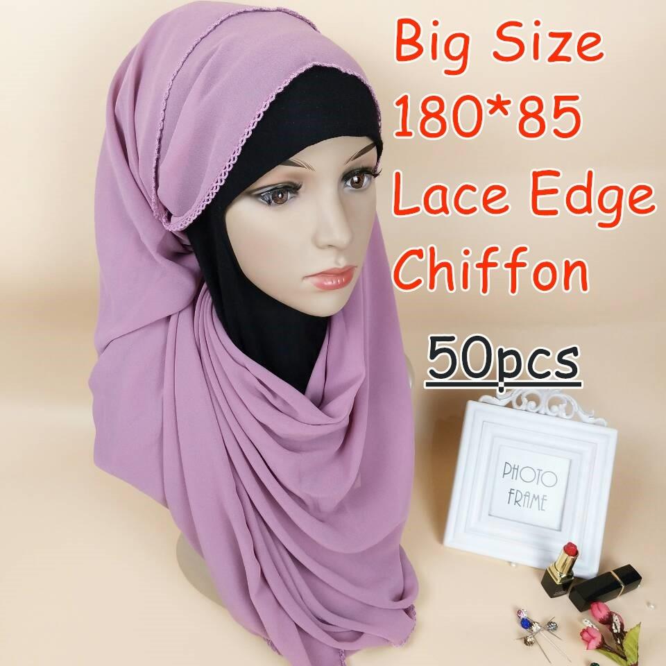 Z1 عالية الجودة كبيرة حجم فقاعة الشيفون الدانتيل الشيفون الحجاب 180*85 سنتيمتر النساء وشاح والأوشحة التفاف شالات 50 قطعة/الوحدة