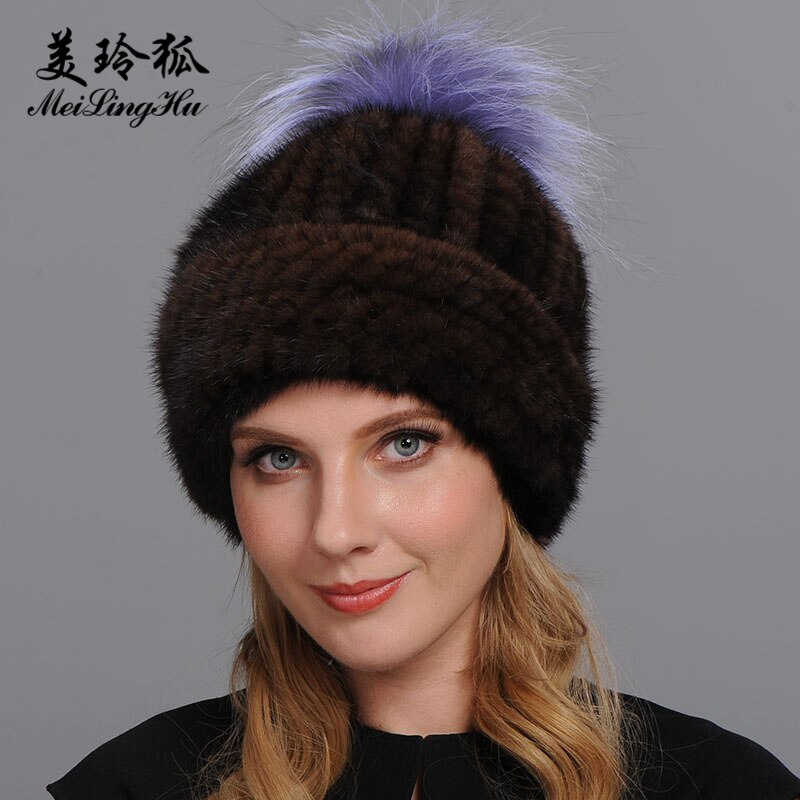Women Real Mink Fur Hat New Brand for Russian Girl's Winter Keep Warm pom poms 2 edge Thicker Female Cap Mink Fur hats Genuine