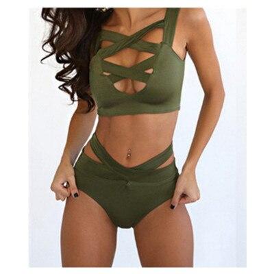 Nuevo traje de baño europeo y americano negro verde del ejército tie bikini sexy cintura alta split señora agente Provocateur traje de baño