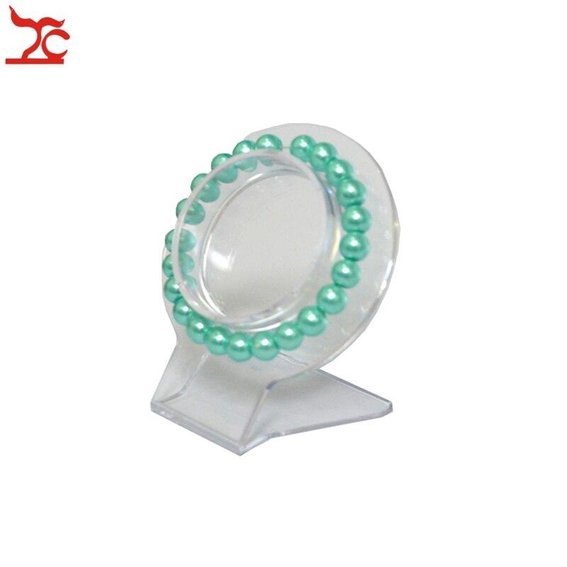 Venta al por menor exhibición de la pulsera de joyería transparente brazalete organizador estante acrílico pulsera cadena expositor Collar soporte