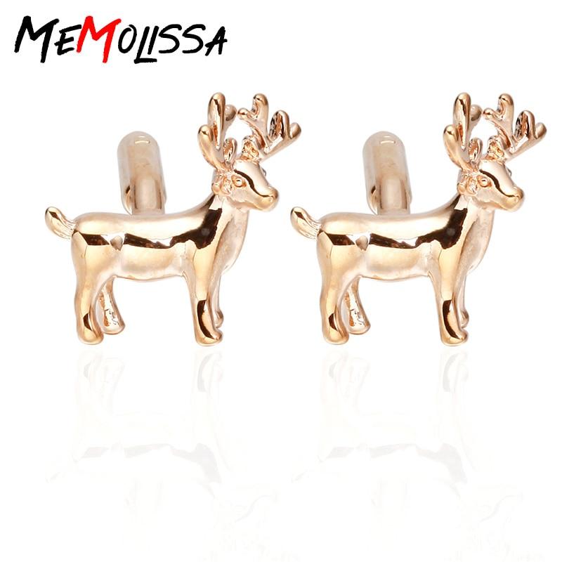 MeMolissa 3 Pares Rosa veados abotoaduras Novidade Abotoaduras Abotoaduras de Cobre da cor do ouro para a camisa Luxo High-grade jóias dos homens