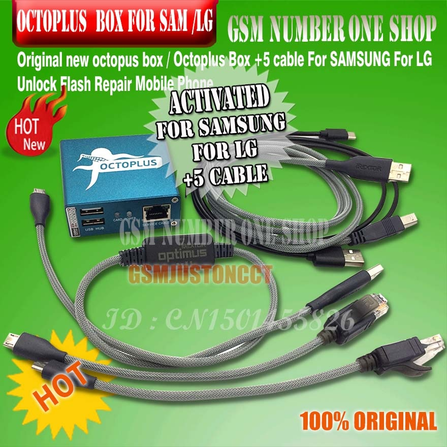 100% Original 2020 nueva caja octopus/Octoplus caja para Samsung para Lg + 5 Cables para reparación de flash de desbloqueo SAM teléfono móvil