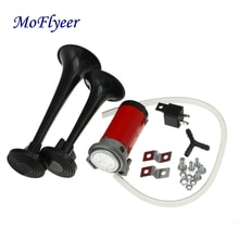 MoFlyeer Motorcycle Universal Loud Dual Trumpet Air Horn 12 Volt 135dB Car Truck RV Train Boat