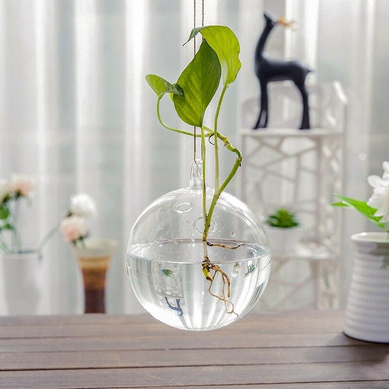 Diameter=15cm 2pcs/pack Two Small Holes Glass Terrarium Vase Hanging Glass Ball Home Decorative Wedding Props