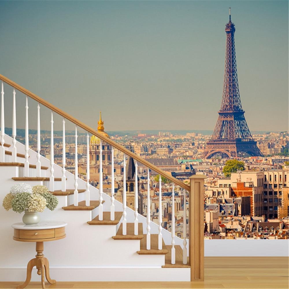Vista de la Torre Eiffel de París Francia photowall mural pintado París decoración mural de papel en casa PW251470604