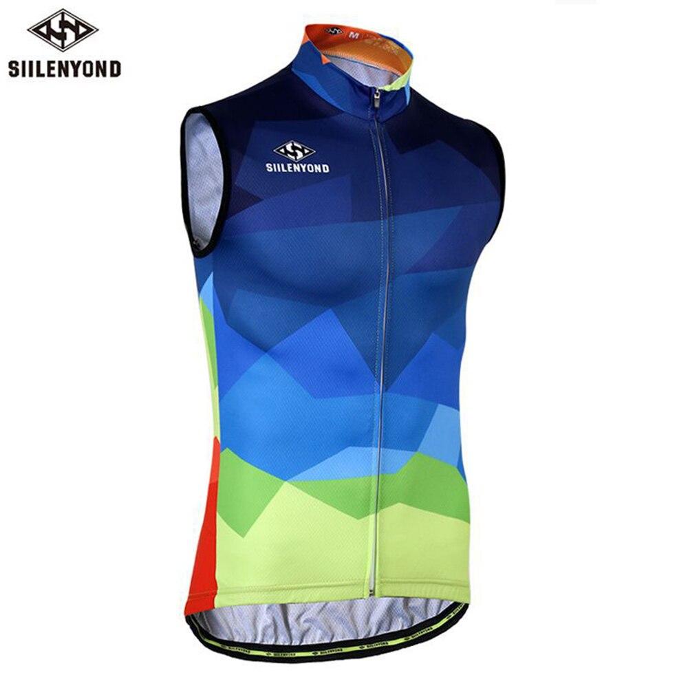 SIILENYOND, Jersey sin mangas para ciclismo de color azul marino para hombre, verano 2018, ropa de ciclismo a prueba de viento, chaleco, camiseta para deportes de bicicleta de montaña