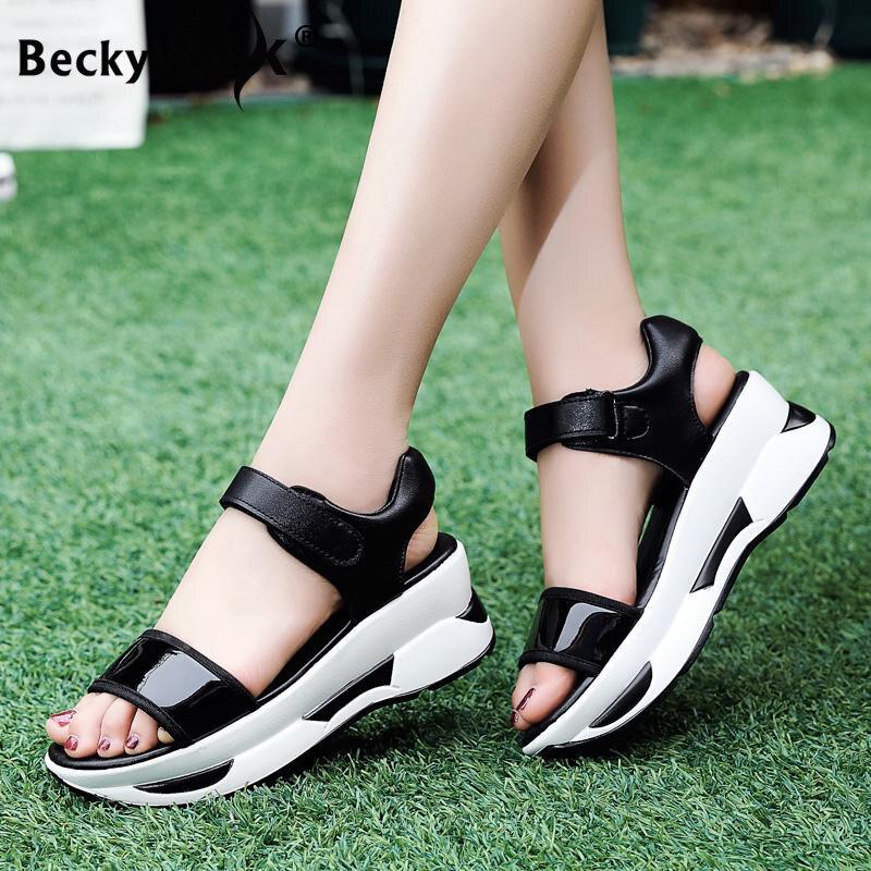 Sandalias de verano con cuña y suela gruesa para mujer a la moda, sandalias para caminar para mujer 2020 WSH3307