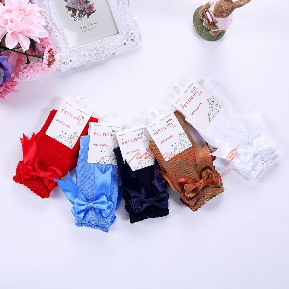 Носки для девочек, детские носки с бантом и рюшами, эксклюзивные детские носки ручной работы