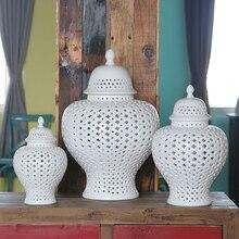 H38 CM Europäischen stil reinem weiß hohl-out ingwer jar dekoration sets
