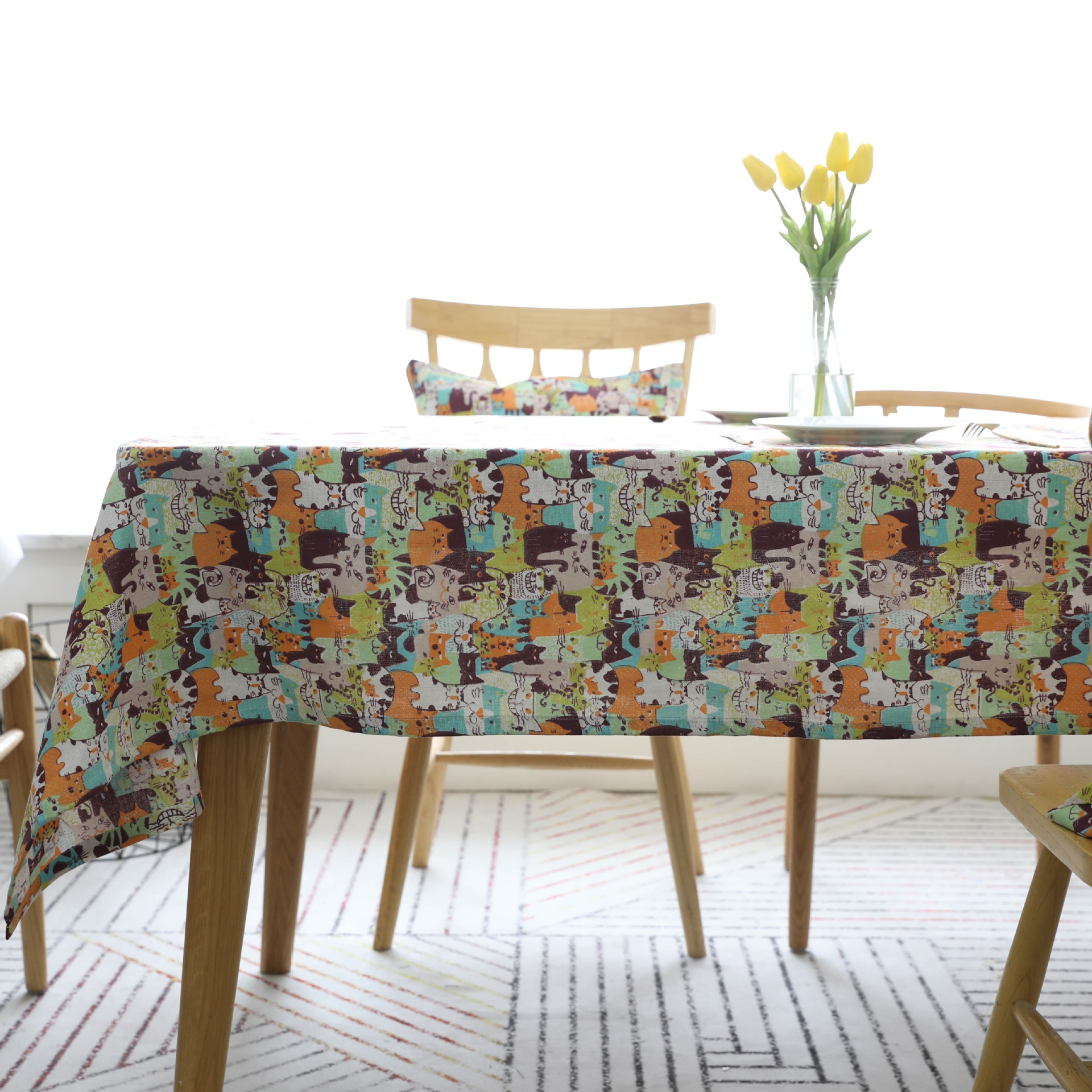 Mantel de caricaturas Sytlish, mantel de lino de algodón, mantel de estilo campestre, multifuncional, rectangular, gatos, patrón, hogar, cocina