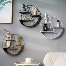 Étagère décorative en métal de Style nordique   Étagère ronde hexagonale support de rangement, étagères décoration murale de la maison, support dornement en pot