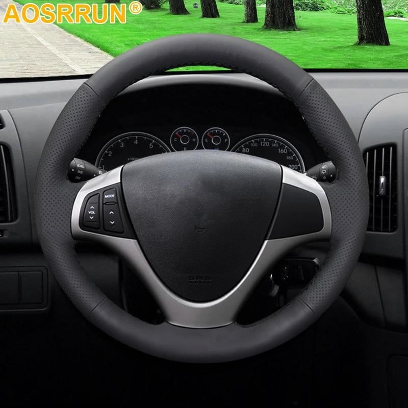 AOSRRUN черный чехол рулевого колеса автомобиля из искусственной кожи для Hyundai I30 2008 2009 2010 FD автомобильные аксессуары Стайлинг