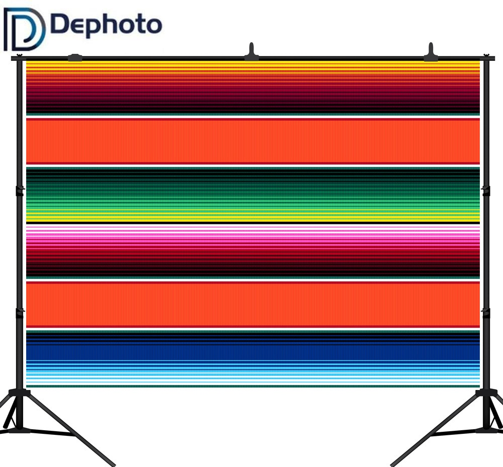Fondo De fotografía De desfoto manta mexicana rayas Cinco De Mayo decoración De fiesta comida mexicana restaurante menú telón De fondo Photocall
