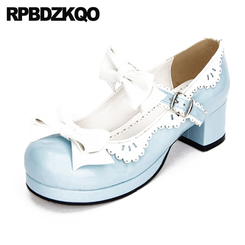 Zapatos de mujer para travestis, 12 44, con lazo, correa en el tobillo, 11 43, multicolor, talla grande, punta redonda, grueso, 4 34, lolita de charol, zapatos de mujer us 13