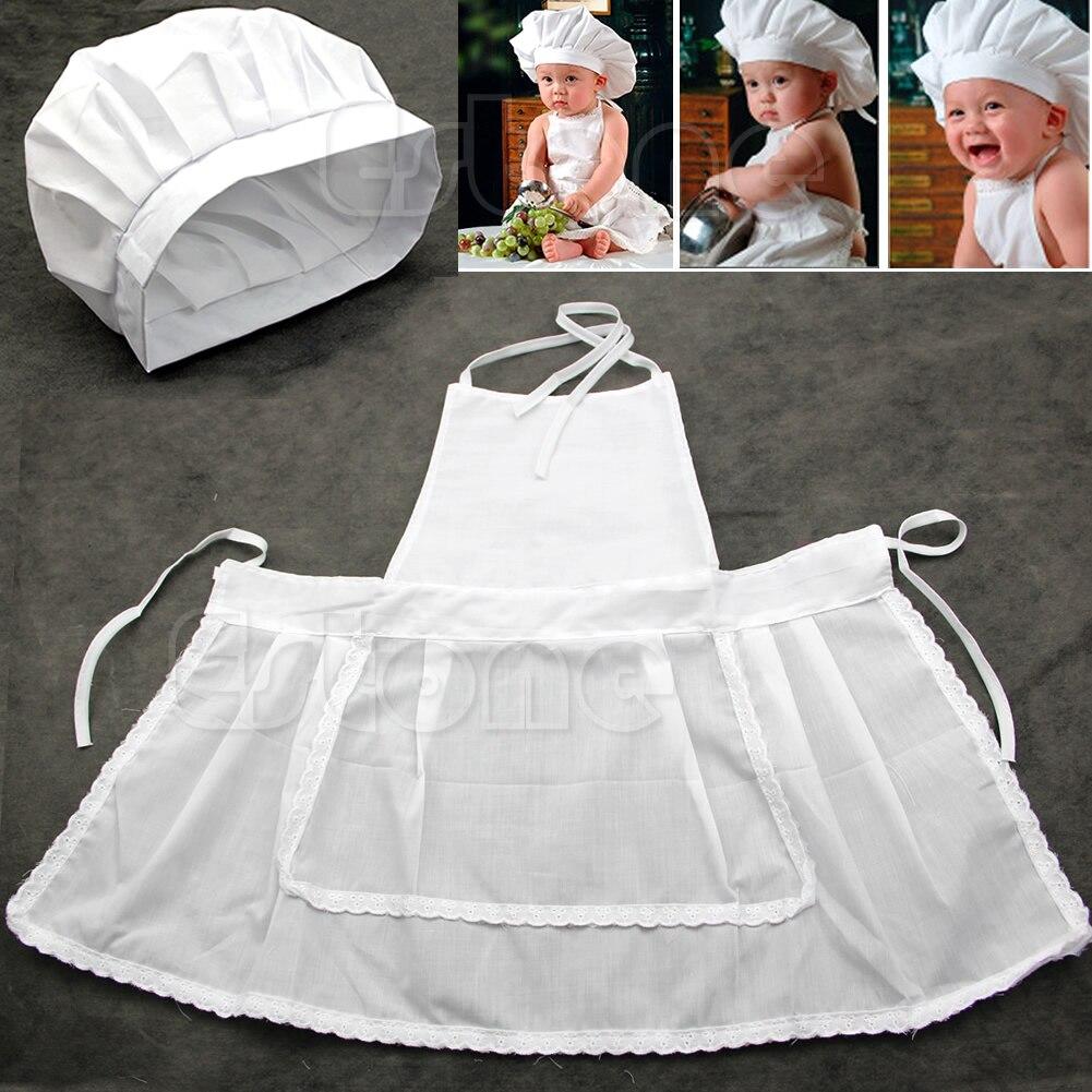 Especial bonito recém-nascido infantil chapéu avental bebê cozinheiro traje branco fotos fotografia prop adorável