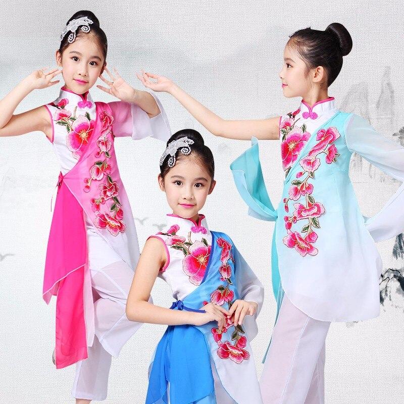 ملابس الرقص الشعبي الصيني للأطفال, ملابس الرقص الشعبي الصيني تصميم جديد فتاة مروحة طبل الرقص زي كلاسيكي يانغكو الرقص