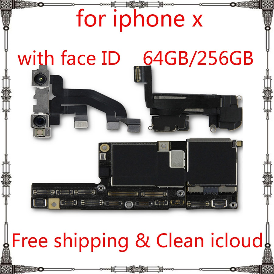Review High Quality 100% Original Motherboard for iphone X  64GB 256GB Unlocked IOS system logic board with / without face ID mainboard