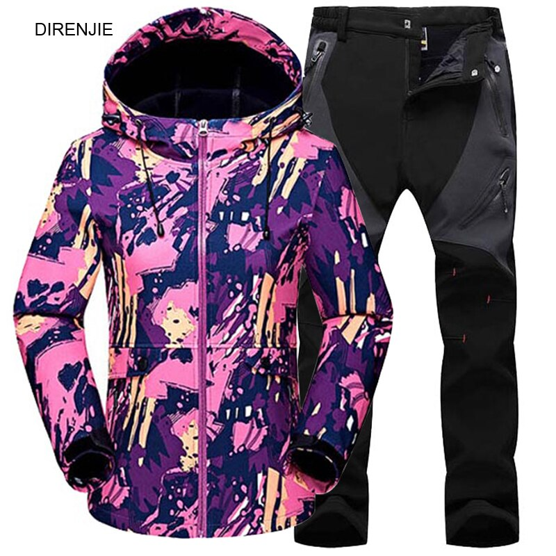 Women's Winter Outdoor Sports Suits Hiking Trekking Fishing Camouflage Warm Waterproof Fleece Jacket +Soft Shell Pants 2pcs Sets